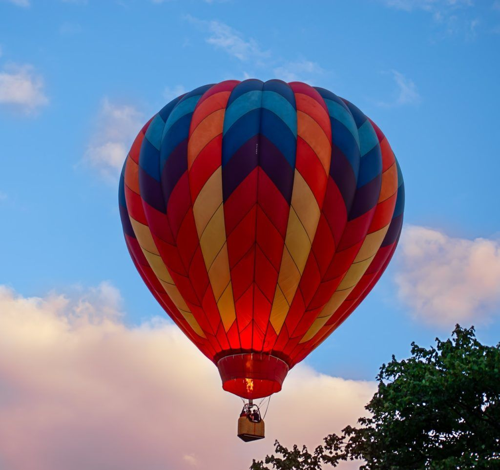 blue yellow and red hot air balloon